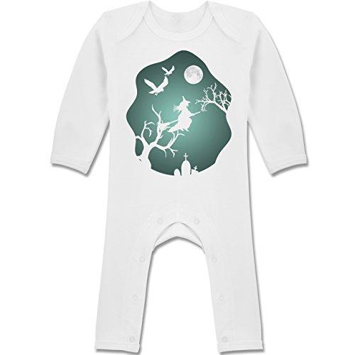 Mädchen Kostüm Krähe - Shirtracer Anlässe Baby - Hexe Mond Grusel Grün - 6-12 Monate - Weiß - BZ13 - Baby-Body Langarm für Jungen und Mädchen