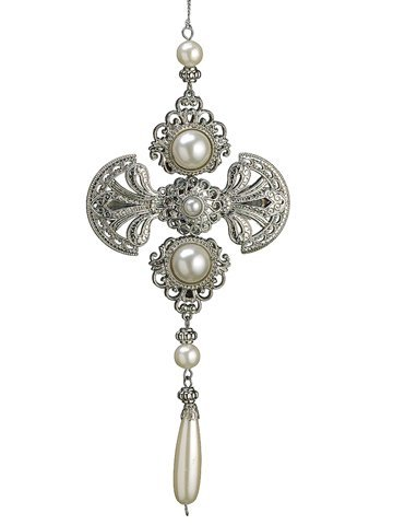 85-glamour-time-silver-medallion-pearl-christmas-drop-ornament