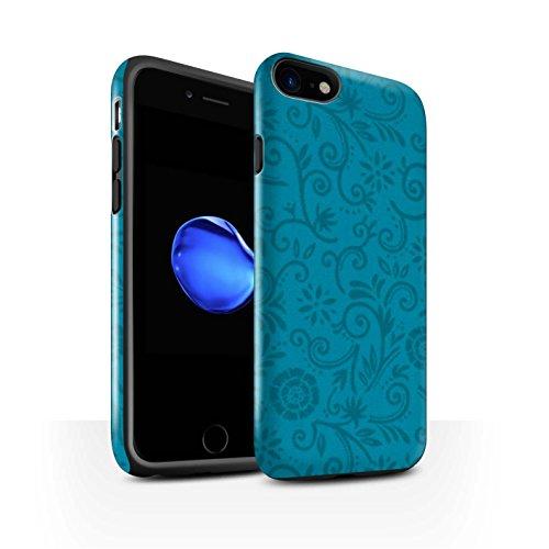 STUFF4 Glanz Harten Stoßfest Hülle / Case für Apple iPhone 8 / Lila Blume Muster / Floral Strudel-Muster Kollektion Blaue Blume