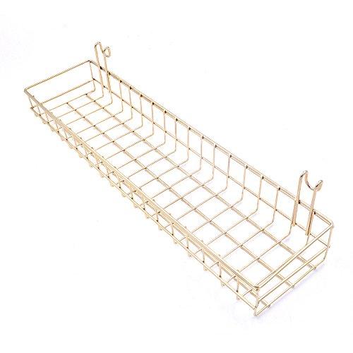 Gold Metall Mesh Wand montiert Korb Set Aufbewahrungskörbe Dekokörbe Basket Allzweckkorb Deko, Size 40 x 10 x 5cm (Garage Organisation Wand)