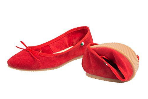 Scarpa Donna Ballerina, In pelle scamosciata -SilferShoes - made In Italy - Colore Rosso Red