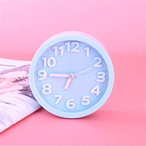 FENGCLOCK Tragbarer Netter Mini-Kleiner Wecker, Morgenwecker für Kinderstudenten aufwachen, Bewegung Ultra-leise Quarz-Uhr-Zahl Stereo,RoundBlue (Uhr Stereo)