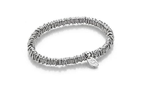 YoungDiamondFashion YDF Loop Silberarmband Silberkette Elastisch mit Echtem Diamant 0,01 Karat 925 Sterlingsilber Echtschmuck Brautschmuck Dirndlschmuck Armkette...
