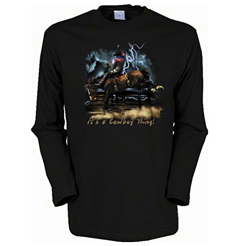 Cooles Herren Langarmshirt, Farbe: Schwarz, USA Motiv: Cowboy Thing Schwarz