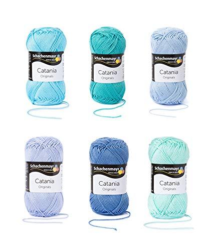 Schachenmayr Catania Wolle 6x50 Gr., 100% Baumwolle (Baby Blau Mix) -