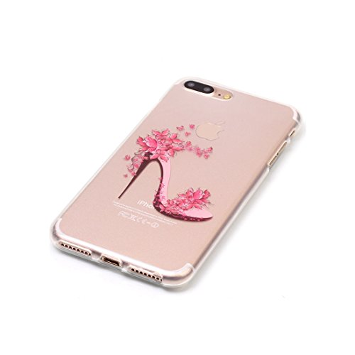 iPhone 7 Plus Custodia Case, Clear Ultra sottile protettiva TPU Silicone Back Rubber Bumper Protector iPhone 7 Plus copertura Cover 5.5 - Fiore di pesco # 6