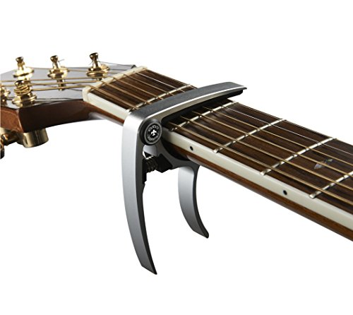 Nordic Essentials Universal-gitarren-kapodaster Aus Aluminiummetall, 48 G, Schwarzsilberfarben, 2 Stück