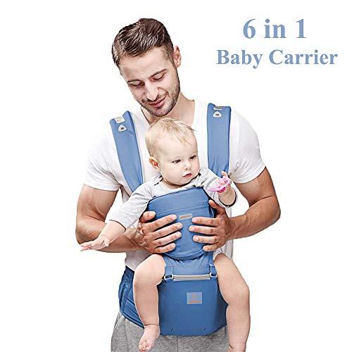 Happy Walk Baby Carrier/Babytrage/Bauchtrage/Rückentrage Neugeborene 360 for All Seasons- 6 Position, Einfaches Stillen, Keine Säuglingseinlage Erforderlich, Anpassung an Wachsende Babys (Light Blue)