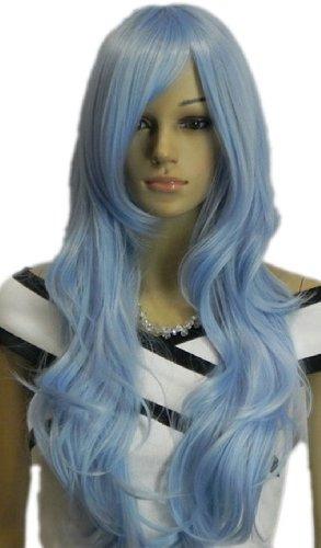 Qiyun Longue Ondule Boucle Clair Bleu Resistant a la Chaleur Fibre Synthetique Cheveux Complete Cosplay Anime Costume Perruque