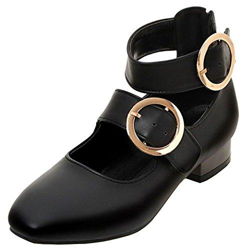 COOLCEPT Femmes Mode Mary Jane Talon Bas Chaussures Vintage Cheville Chaussures Noir