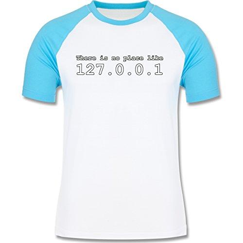 Programmierer - There is no place like 127.0.0.1 - zweifarbiges Baseballshirt für Männer Weiß/Türkis
