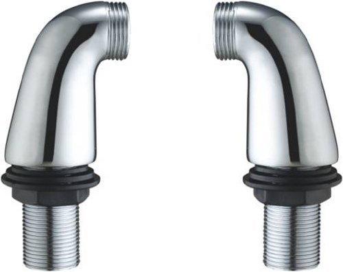 Lot de 3 paires de tiges Hauteur 85 mm Chromé Adaptateur Coude pilier pieds pour un robinet mélangeur de baignoire