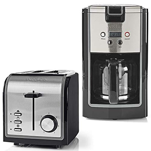 TronicXL Frühstück Set Toaster Filter Kaffeemaschine Design schwarz + Edelstahl
