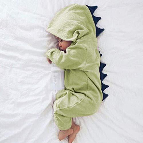 Süße Dinosaurier Kostüme Neugeborenes Baby Jungen Mädchen Unisex Strampler Mit Kapuze Langarm Onesies Overall Outfits für Halloween,Green,70cm