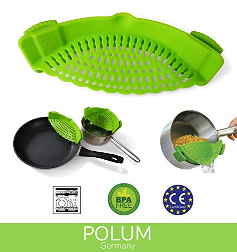 POLUM Topf- und Pfannensieb Küchensieb zum Anklippen 22 x 10 x 6 cm (Silikon-topf-sieb)