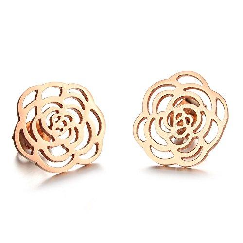 Kim Johanson Edelstahl Damen Ohrringe Rose Blume Blüte inkl. Geschenkverpackung