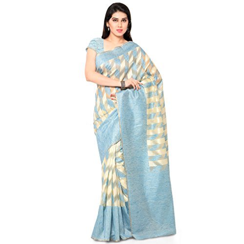 Varkala Silk Sarees Women's Chanderi Silk Saree With Blouse Piece(TD1026AD_Turquoise Blue_Free Size)