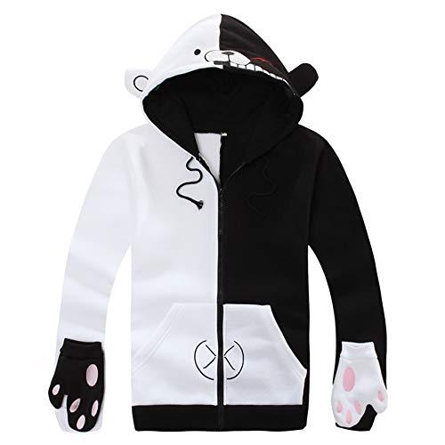 -weiß Bär Mantel mit Handschuhen Reißverschluss Anime Kleidung Hoodie Cosplay Jacke Kostüm Unisex,Fleece,XL ()