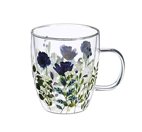 Cypress Home Glas Kaffee Cup, 12Unzen blumen