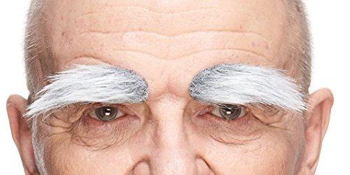 Kostüm Weißes Haarspray - Mustaches Selbstklebende Neuheit Fälscher Augenbrauen für Erwachsene Grau mit Weißer Farbe