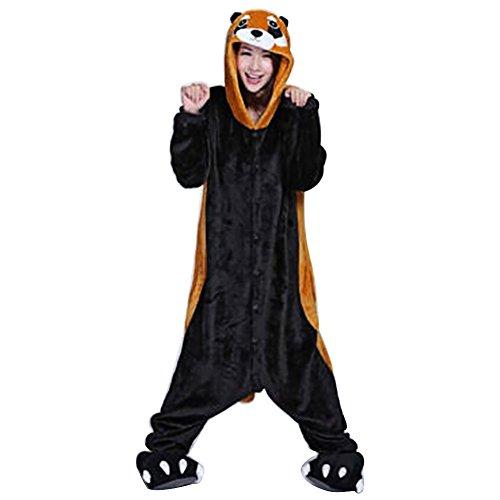 Jumpsuit Erwachsene Karton Schlafanzug Halloween Karneval Fasching Cosplay Overall mit Kapuze (M, Waschbär) (Waschbär-halloween-kostüm)