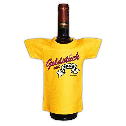 (Mini T-Shirt - Goldstück seit 1966 - Originelle Verpackung - Geschenkidee - Geburtstag - Party Gag - Flaschenverpackung)