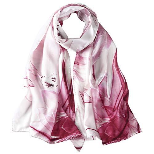 Lady Women 100% Natural Mulberry Silk Soft Fashion Print Schals Floral Halstuch Schal Wickel Sarong Anti-Allergie Nackenschutz (verschiedene Farben) - All Seasons (A1) -
