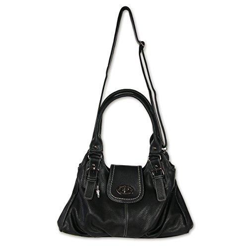 JENNIFER JONES 3959 moderne Damen Handtasche 40x20x14cm Schwarz