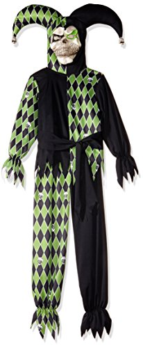 Evil Jester Child Costume Black and Green Scary Halloween Fancy Dress (Kinder Hotdog Kostüm)