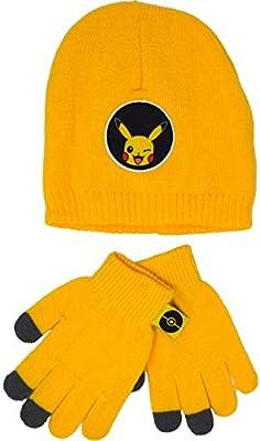 Pokèmon Pikachu - Juego de 2 gorros y guantes de invierno para niños