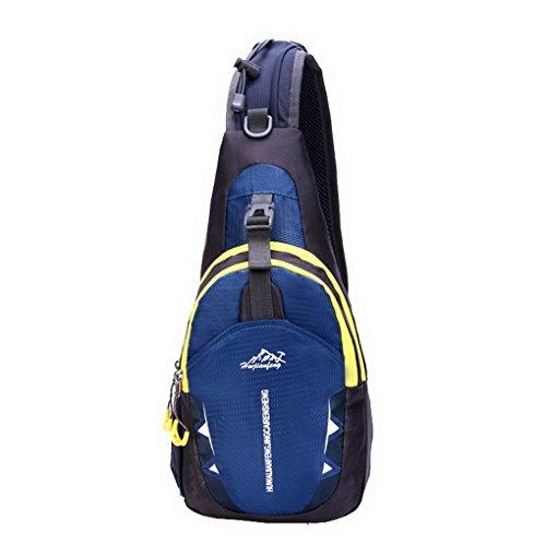Multifunzionale petto spalla Croce Corpo Borse Tracolla Sport all' aperto campeggio trekking, ciclismo, corsa, Borsa a tracolla zaino scuola Bookbag Blu scuro