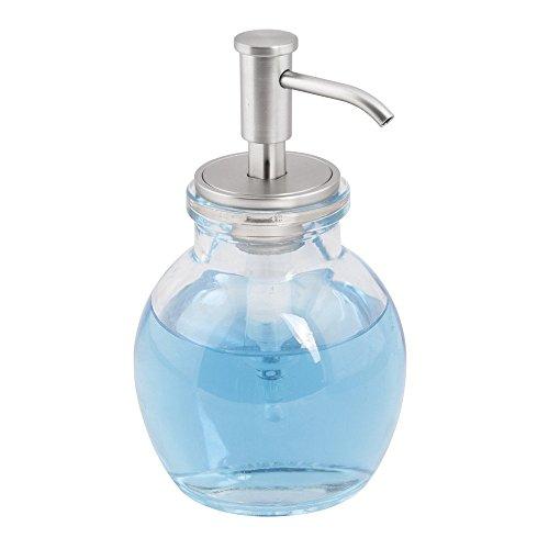 mdesign-pompa-dispenser-di-sapone-in-vetro-per-cucina-bagno-trasparente-spazzolato