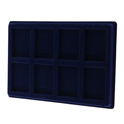 Homyl 8 Slot Samt Display Case Holder Tray, Sammelbox Showcase für Coin Jewerly, Größe 13x9 Zoll