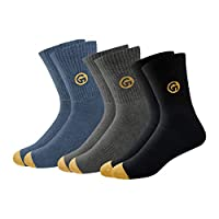 GLINTO Men's Premium Cushioned Cotton Athletic Crew Socks, (3 Pack,Free Size, Multi-coloured)