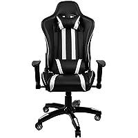 Juegos reclinables Asientos de carreras cintura almohada almohada rotación Bigtreestock computadora escritorio silla de oficina (negro + blanco)