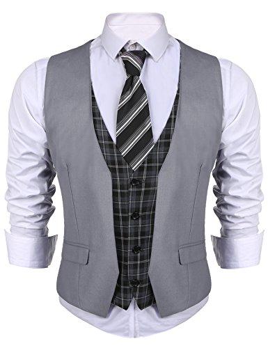 Qioti Herren Weste Anzugweste Slim Fit Kariert Business Casual Klassisch Basic Männer Anzugweste Klassische Weste