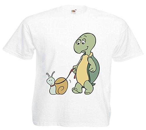 Motiv Fun T-Shirt Schildkröte und Schnecke Cartoon Spass Film Serie Weiß