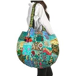 Tribe Azure Floral Bordado Bolso De Hombro Azul Boho Gypsy Hippy Algodón Ligero Espacioso Lindo Colorido Para Escuela Laptop Libros Grande Durable Único Hecho A Mano