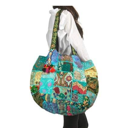 Tribe Azure Floral Bestickt Blau Schulter Tote-Bag Tasche Boho Gypsy Hippie Baumwolle Leicht Geräumig Süß Bunt Schule Laptop Bücher Groß Langlebig Individuell Handgearbeitet -