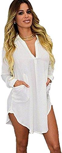 Donna Camicia Chiffon Blusa Maglia Lunga Camicetta Elegante Vestito Bianco