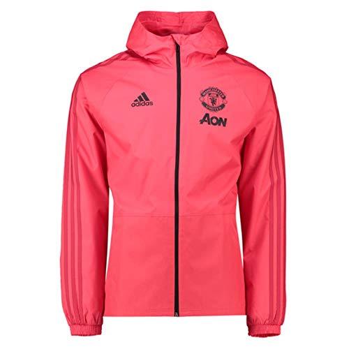 Adidas MUFC Rain JKT - Chubasquero Manchester United FC, Hombre, Rosa(ROSBAS/ROJRES/Negro)