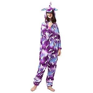 Katara- Kigurumi (10+ Modelos) Pijamas Animales Halloween Adultos, Color Unicornio púrpura-Multicolor, Talla 175-185cm (1744)