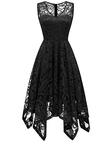 Meetjen Damen Elegant Spitzenkleid V-Ausschnitt Unregelmässig Vokuhila Kleid Festlich Cocktail Abendkleid Black 2XL