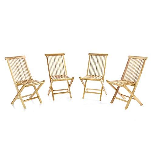 DIVERO 4er-Set Klappstuhl Teakstuhl Gartenstuhl Teak Holz Stuhl für Terrasse Balkon Wintergarten unbehandelt massiv klappbar natur -