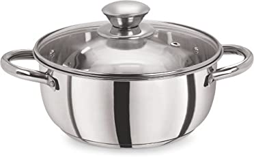 Pristine Stainless Steel Tri Ply Sandwich Base Casserole for Induction, 2.25L (Silver)
