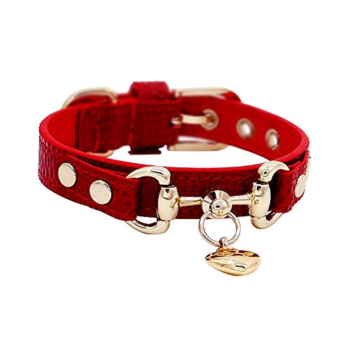 GWM Handgefertigt aus echtem Leder Hundehalsband, mit Liebe Anhänger Eidechse Muster Wein rot für kleine mittlere große Hunde (größe : Xs) -