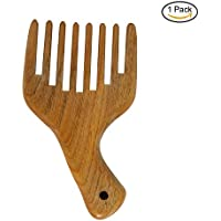 Pettine per capelli a denti larghi portatile barba Pettine in legno di sandalo naturale, perfetto per ricci di FUNLAVIE