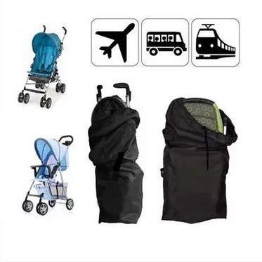 liltourist cochecito bolsa de transporte, bolsa de viaje buggy, bolsa de protección de cochecito, duradero, bolsa gate check, con la manija y la correa de hombre (negro)
