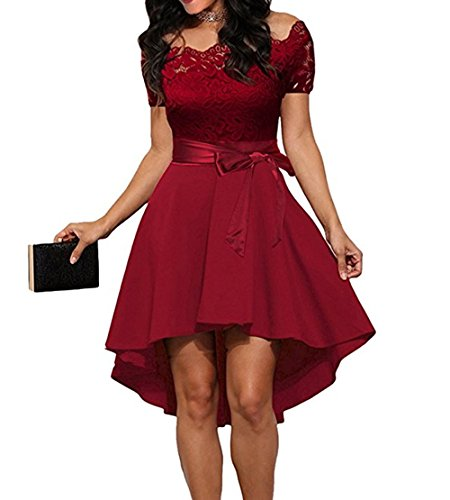 Damen Cocktailkleid Elegantes festliches Abendkleid Spitzenkleid , Knielang Schulterfrei Langarm