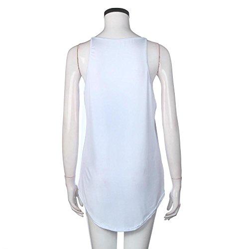 Chemisier LILICAT Femmes Élégant Gilet sans manches Chemise décontractée solide Réservoir Haut Chemisier Gilet White
